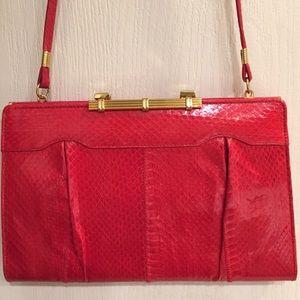 Vintage Snake Print Genuine Leather Red Clutch/Bag